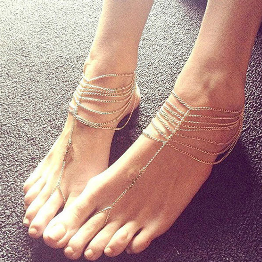 Women Tassel Slave Anklet Chunky Summer Multilayer Barefoot Sandals Gold Foot Jewelry Ankle Chain Bracelet