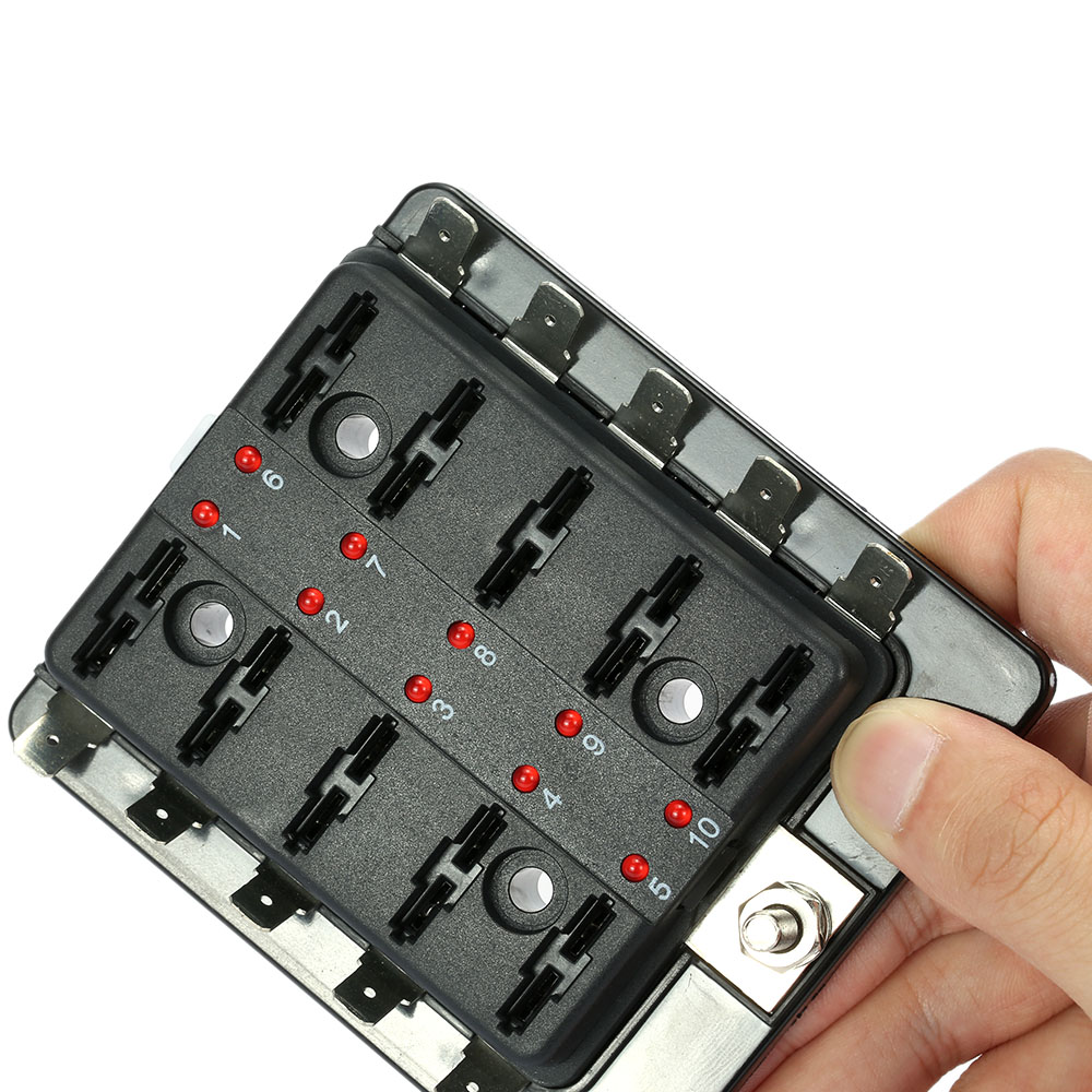 car fuse box 10 way blade fuse box holder with led warning light kit for car [ 1000 x 1000 Pixel ]