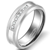 8mm Silver Tones Men's Tungsten Carbide Rings CZ Stone Wedding Jewelry Engagement Promise Band for Him Matte Finish Comfort Fit