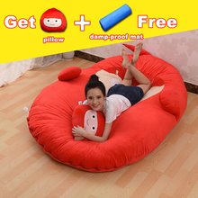 Fancytrader Huge Plush Fruit Series Beanbag Soft Stuffed Double Bed Tatami Mattress Sofa Strawberry Orange Apple