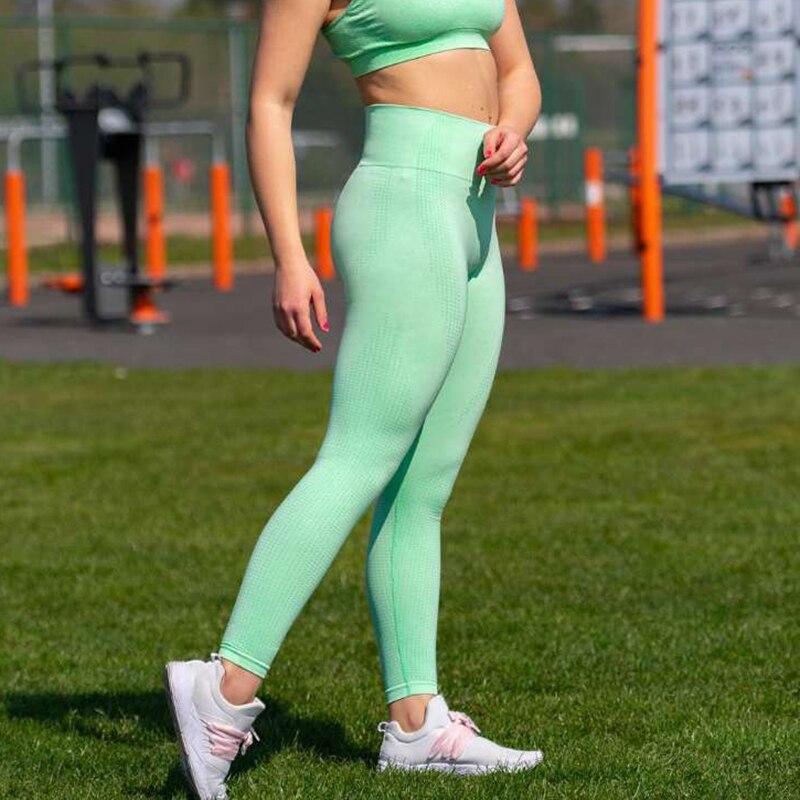 Leggings sans couture d'énergie taille haute Leggings serrés Push Up Leggins Sport femmes Fitness course Yoga pantalons Gym femme Leggings