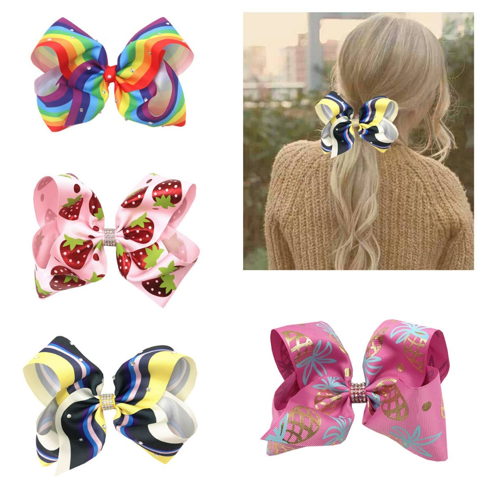 1pcs 8inch big rainbow hair bows