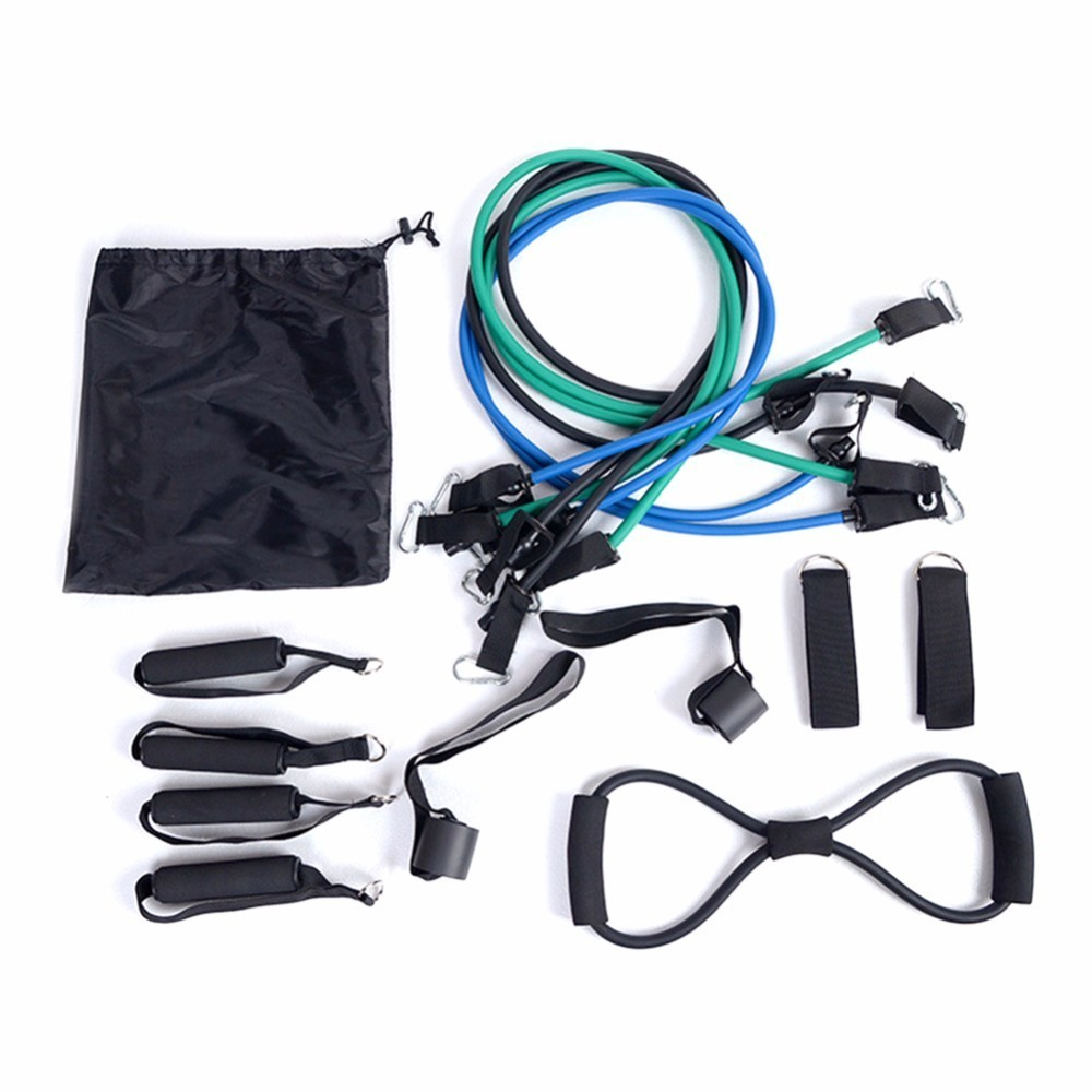 16pcs/set Pull Rope Fitness Exercises Resistance Bands Crossfit Latex Tubes Pedal Excerciser Body Training Workout Yoga