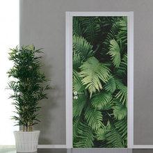 Самоклеящиеся дверные наклейки из ПВХ 3d обои с зелеными листьями