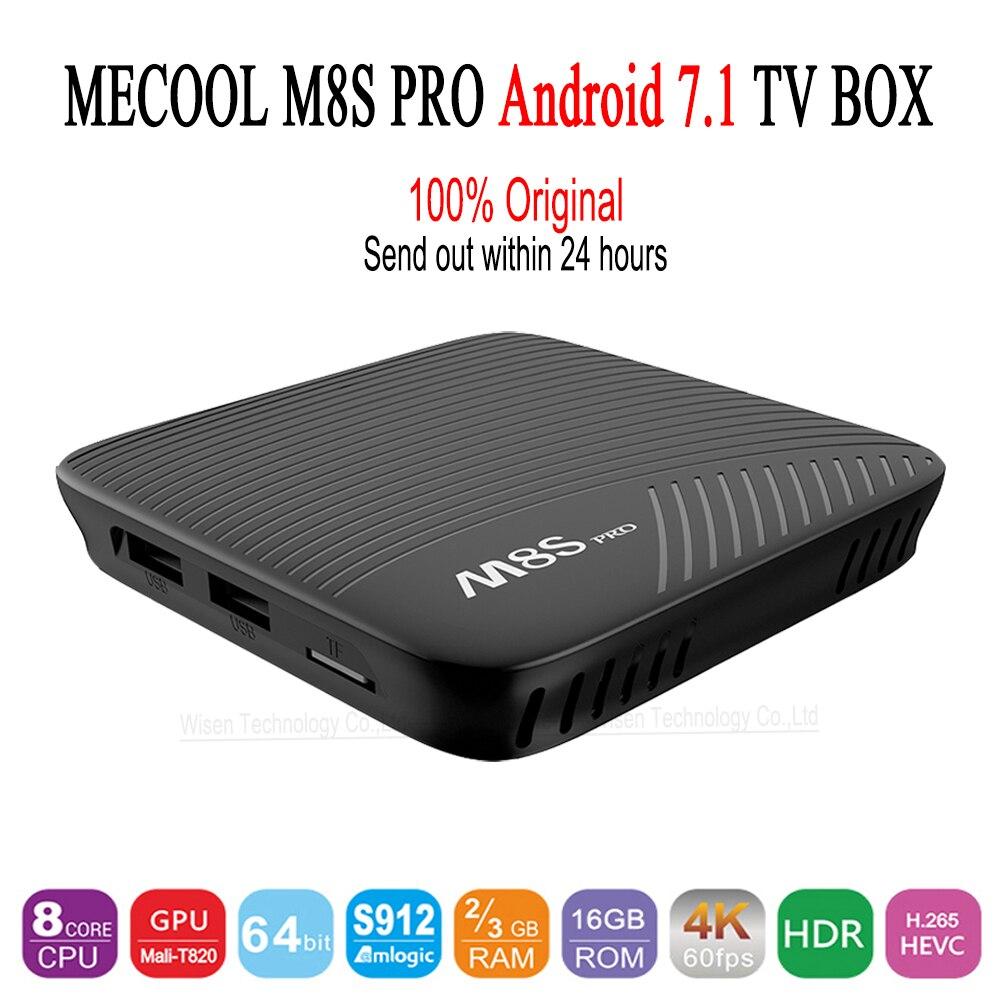 Натуральная mecool M8s Pro Android 7.1 ТВ коробка BT 4.1 2 ГГц ARM cortex-a53 Процессор 64bit 4 К 2 г 16 г 3G 16 г 3G 32 г телеприставки PK x92 X96