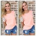 Сексуальная Женская Мода Лето Шифона Рубашку Случайные Свободные Короткий Рукав Рубашки Топы Блузка Кружева Блузка