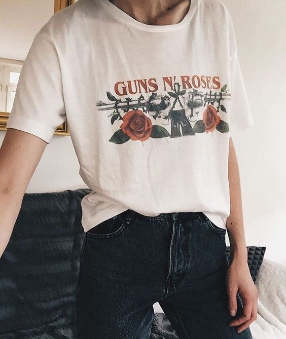 6388e6e47 HAHAYULE Vintage Style Guns N' Roses Pistols T Shirt Women Tumblr Grunge  Fashion Casual Loose White Tee Cool Tops-in T-Shirts from Women's Clothing  on ...