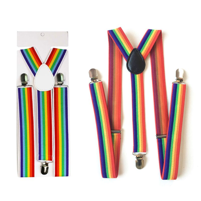 Children Rainbow Strap Clip Colorful Striped Baby Suspenders Belt Boys And Girls Fashion Straps Anti-drop Belts Buckle