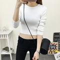 Autumn Knitted Cropped Tops  Women Knitted Shirt Long-Sleeve Outerwear Sexy O-Neck Shorts Tops For Woman Clothing