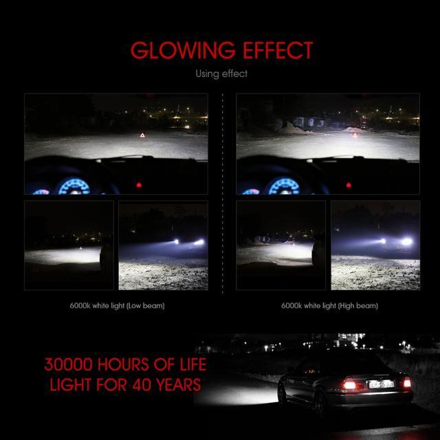 Oslamp H7 H11 H1 H3 9005 9006 COB Car LED Headlight Bulbs H4 Hi-Lo Beam 72W 8000LM 6500K/4300K Auto Headlamp Led Car Light 12V