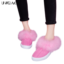 Uwback 2016 Women Flat Shoes Faux Fur Ostrich Fur Lazy Casual Women Slippers Autumn Woman Sewing Canvas Shoes CJJ013