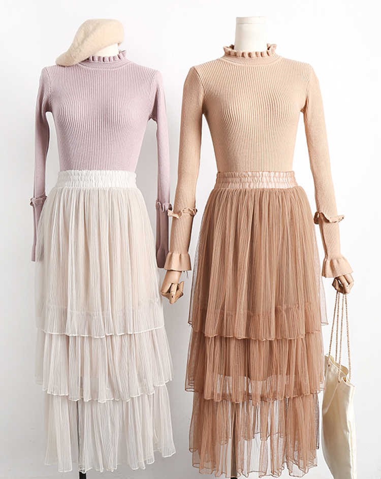 b50298b05fa60 ... Young Gee Maxi Long Tulle Skirts Womens 2019 Fashion Elegant High Waist  Mesh Pleated Tutu White