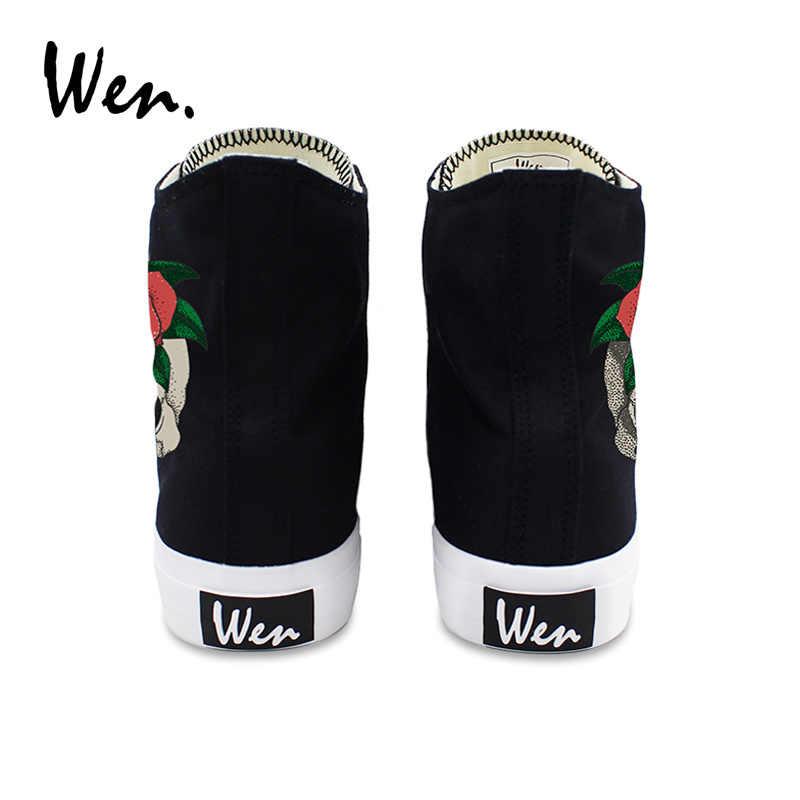 ון מקורי גולגולת אדום עלה עיצובים בד נשים נעלי סניקרס גבוה למעלה שחור לבן גברים נעלי ספורט בילוי בחוץ