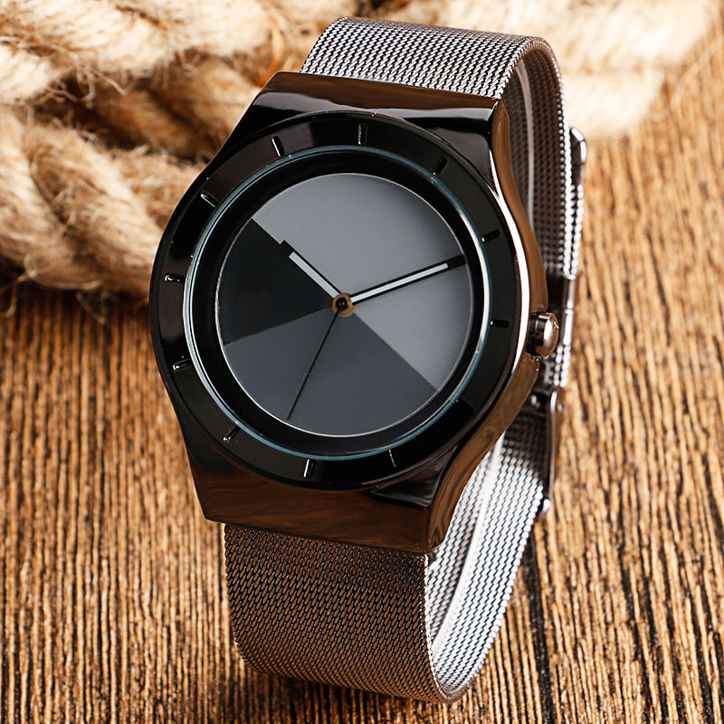 Fashion Men Watch Mix Color Dial Wrist Watch Stainless Steel Mesh Iron Quartz Watch Male Sports Special Dress Clock đồng hồ binger bg54
