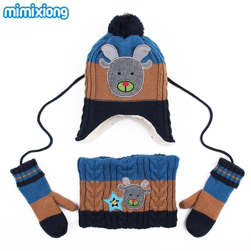 Winter Thicken Children Boy Beanies Hats+Scarf-Collar+Mittens Sets Autumn Knitting Cartoon Toddlers Kids Girls Hat Scarf Collars wb 01 fashion knitting wool collar scarf neck warmer pink