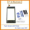 Oem frente do painel de toque digitador da tela para nokia lumia 520 display lcd substituição da tela de toque com frame frete grátis