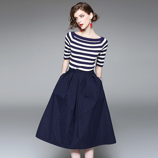 e86bc14be Kakagogo Classical Blue And White Stripe Knitted Top Blouse And Royal Navy Blue  Skirts 2 Piece Women Sets Suit Plus Size Xl K041