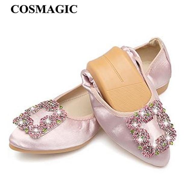 COSMAGIC 2018 New Women Silk Square Rhinestone Ballet Flats Shoe Solid Slip  on Pointed Toe Driving Folding Shoe Plus Size 17278d5428df