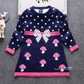 2016 outono e inverno nova moda das crianças camisola de malha saia longa-sleeved camisola meninas saia princesa crianças camisola
