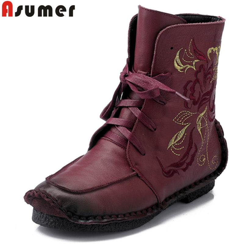 ASUMER HOT SALE 2018 fashion round toe genuine leather boots embroider lace up ankle boots for women flat with female bootsASUMER HOT SALE 2018 fashion round toe genuine leather boots embroider lace up ankle boots for women flat with female boots