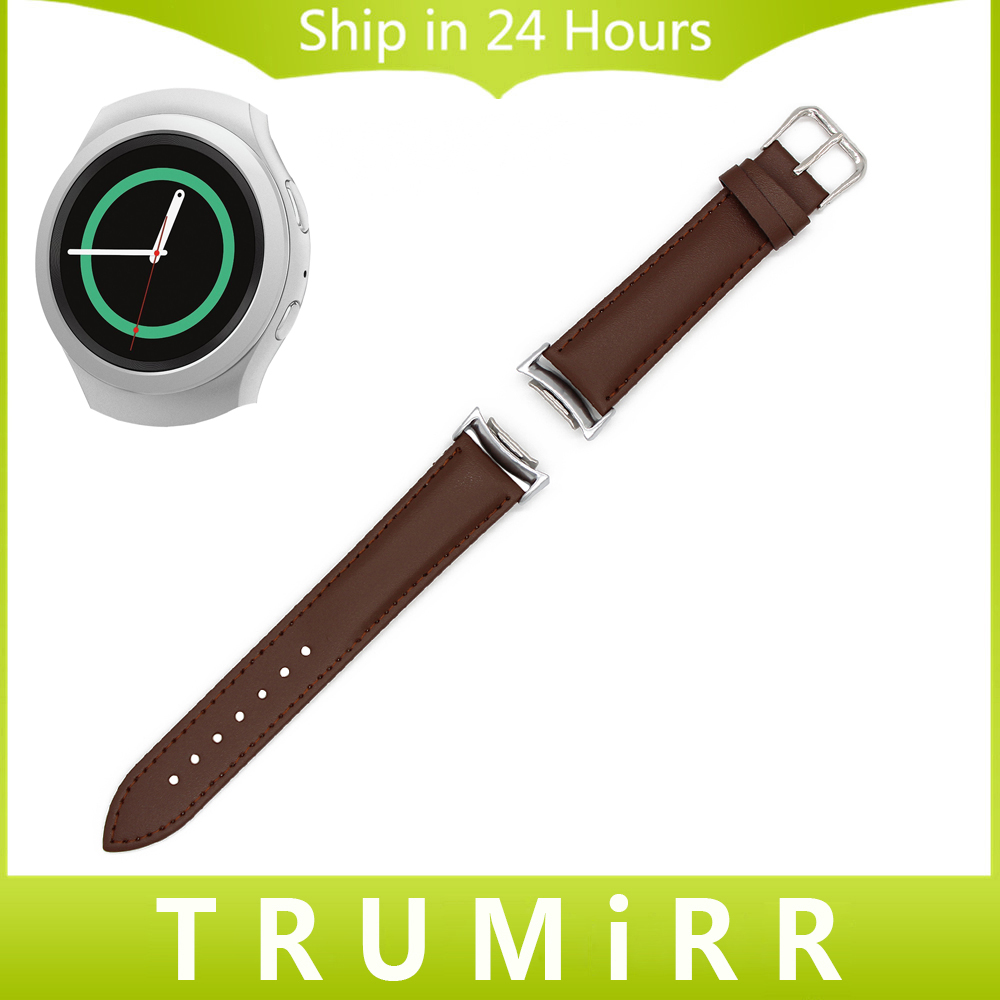 Genuine Leather Watch Strap for Samsung Gear S2 SM-R720 / R730 Wrist Band Stainless Steel Buckle Bracelet Black Brown + Adapters стоимость