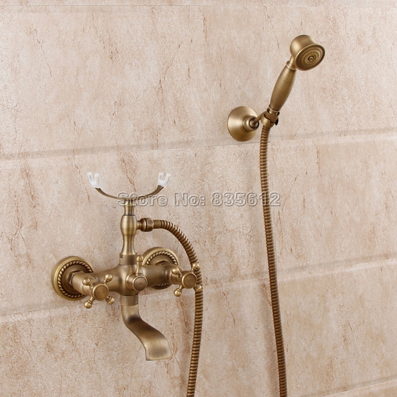 Retro Antique Brass Wall Mounted Dual Cross Handle Bathroom Faucet with Handheld Shower Clawfoot Tub Mixer Tap Wtf352 phasat 4308 retro dual handle bathroom sink faucet antique brass