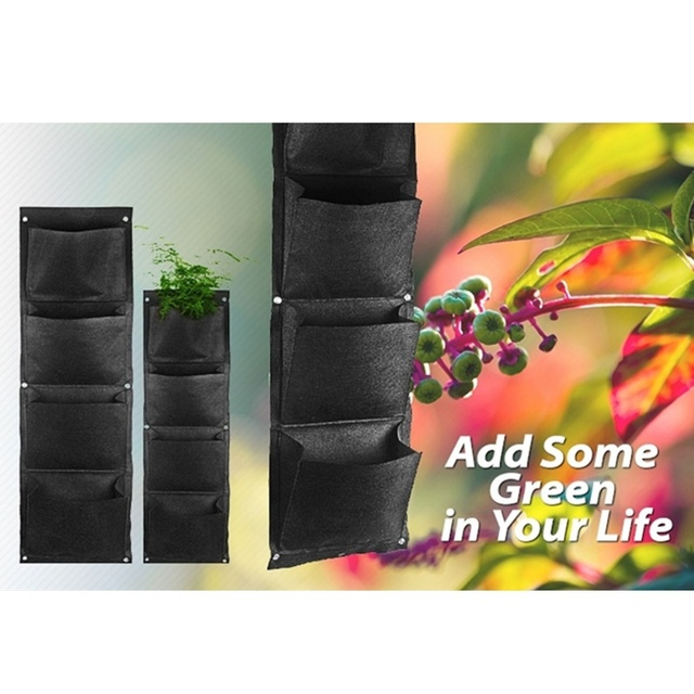 free shipping 2 pcs DIY 4-Pocket Vertical Wall Planter Garden Decoration Wall-mounted Grow Bags Vegetable hanging Flower Pot