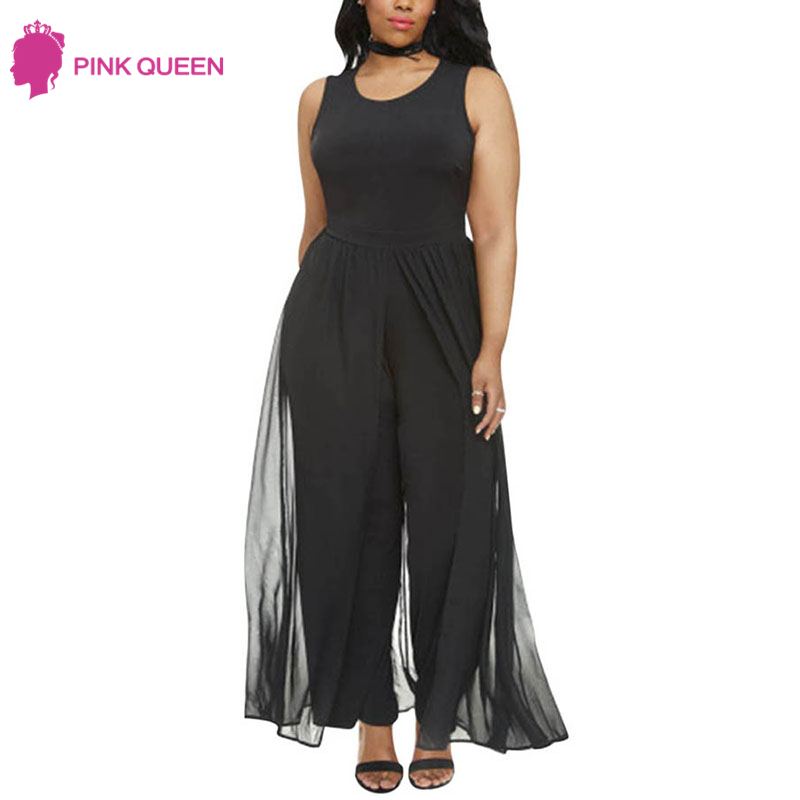 Pink Queen Women's Plus Size Sleeveless Long Pants Jumpsuit with Chiffon Overlay Black White Wide Leg Jumpsuits Malla Sexy