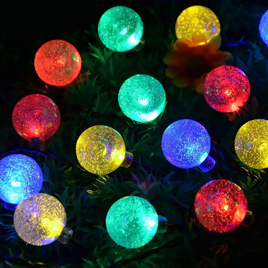 YINGTOUMAN NEW Bubble Ball Solar Lamp String Lights Christmas Holiday Party Decoration Light Garden Decorative Lamp 6m 30led