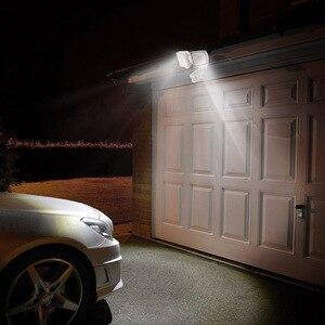 Image 5 - 230V Drei Kopf Solar Licht Radar Sensor Scheinwerfer Wasserdichte Im Freien Solar Garten Licht Super Hellen Hof Flut LED Lampe