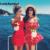 Ladysymbol vermelho estampado floral plissado fora do ombro mulheres geral playsuit rompers jumpsuit verão 2017 sexy praia casual curto menina
