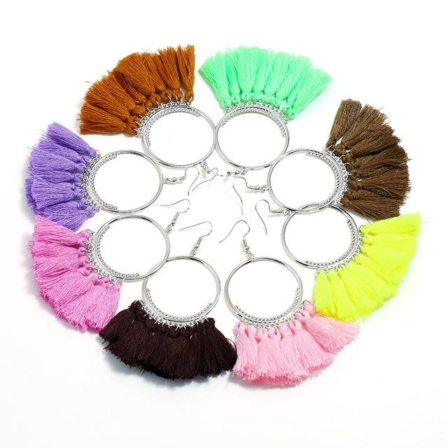 Купить lzhlq серьги с кисточками для женщин этнические большие висячие