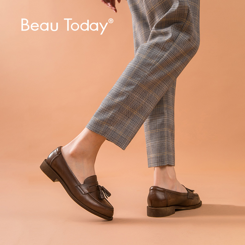 BeauToday Penny Loafers Women Genuine Cow Leather Tassel Round Toe Spring Autumn Slip On Flat Shoes