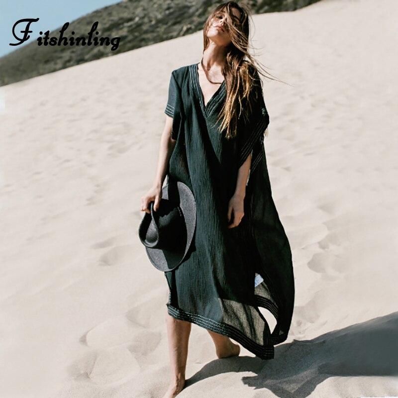 c634ea55b Fitshinling V cuello sexy mujeres playa vestido túnica hendidura lateral  Bohemia negro pareos de verano vestidos de verano de gran tamaño vestidos  sexy
