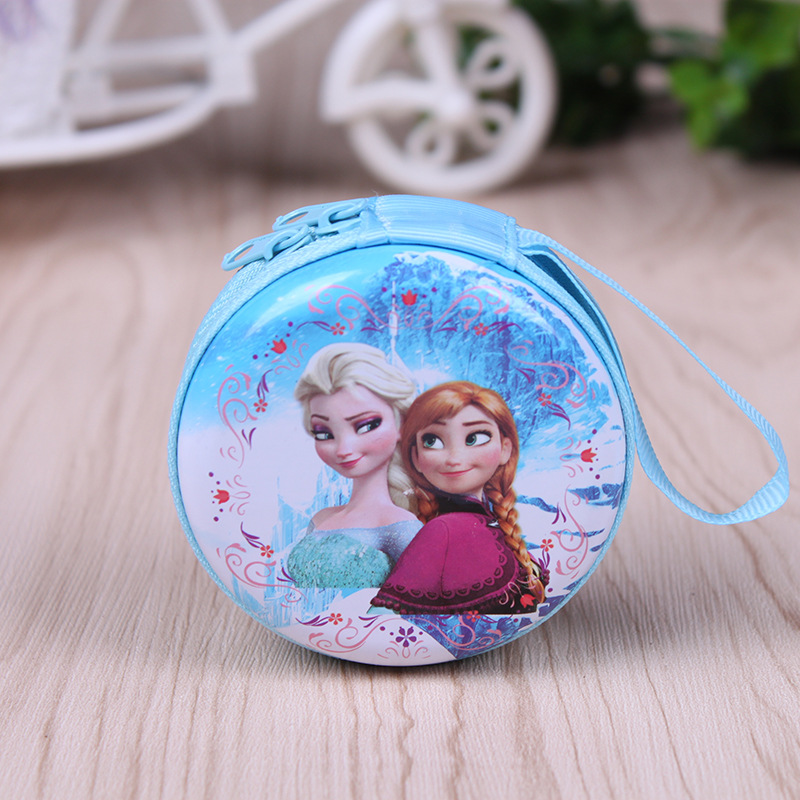 2017 Hot sale cartoon coin purse Elsa Anna princess girls key case wallet children snow queen headset bag coin bag