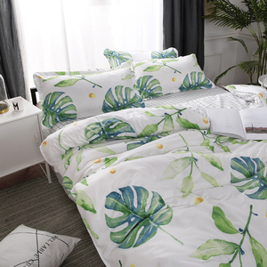 Image 4 - Home Textile Green Leaves Bedding Set 3/4pcs Geometric Bed Set White Grid Duvet Cover Set Brief Bed Linen Flat Sheet Pillowcase
