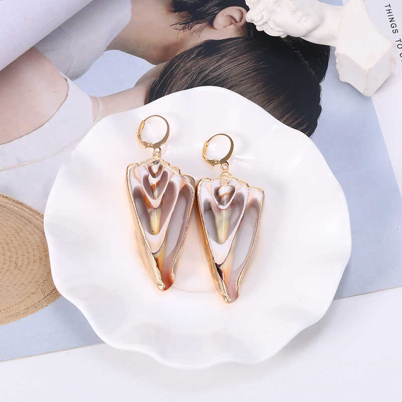HOCOLE Sea Conch Shell Drop Earrings For Women 2019 Brincos Za Metal Bohemian Jewelry Gold Shell Dangle Earring Statement Korean