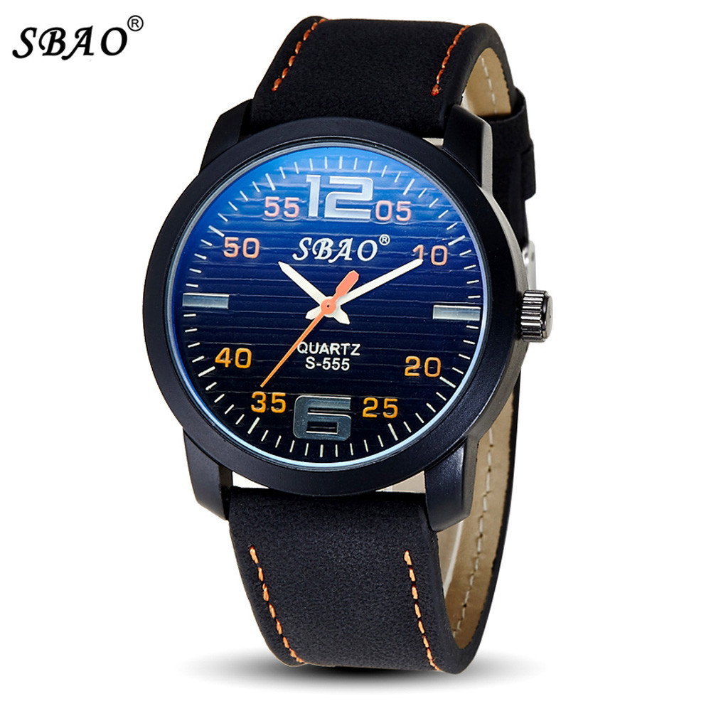 Reloj Hot Sale SBAO Fashion Personality Trends <font><b>Blu-ray</b></font> Calendar High-grade Business Belt Watch Free Shipping Nov28