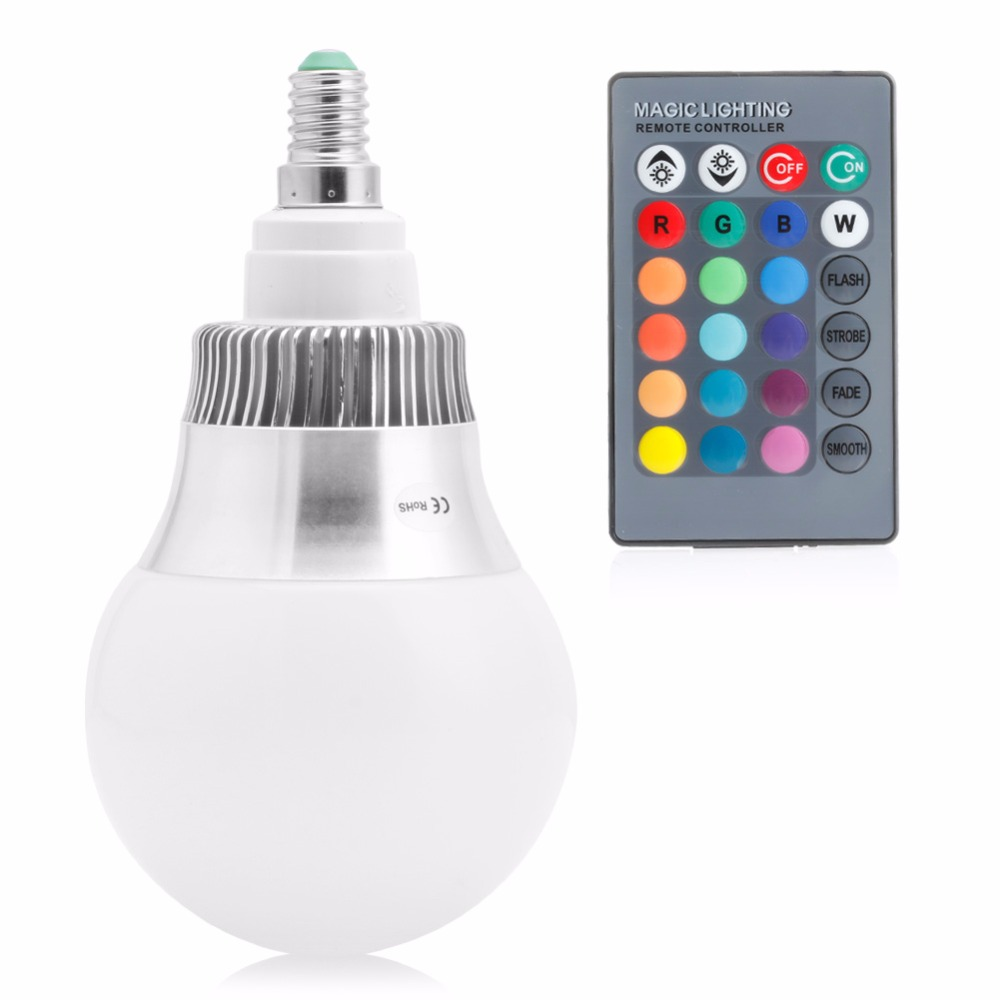 E14 85-265V 15W RGB LED Light Color Changing Lamp Bulb + Remote Control light bulb 16 colors wireless remote control 85 265v e27 led 20w rgb changing light bulb h028
