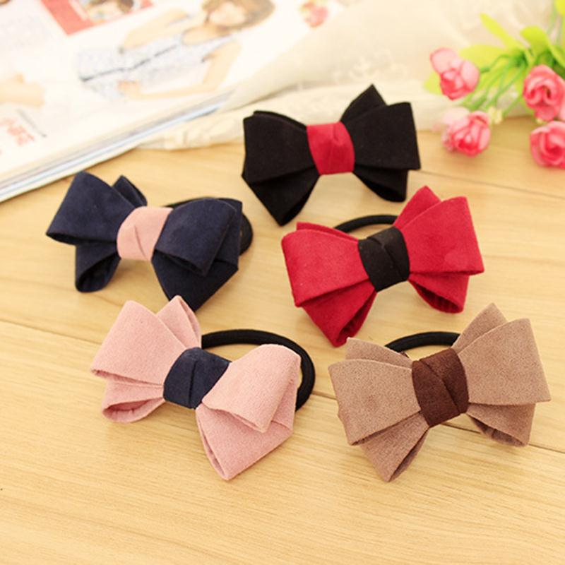 Elegant Bow Bowknot Rubber Bands for Girls Elastic Hair Bands Gum for Kids Women Headwear Hair Accessories 1pc