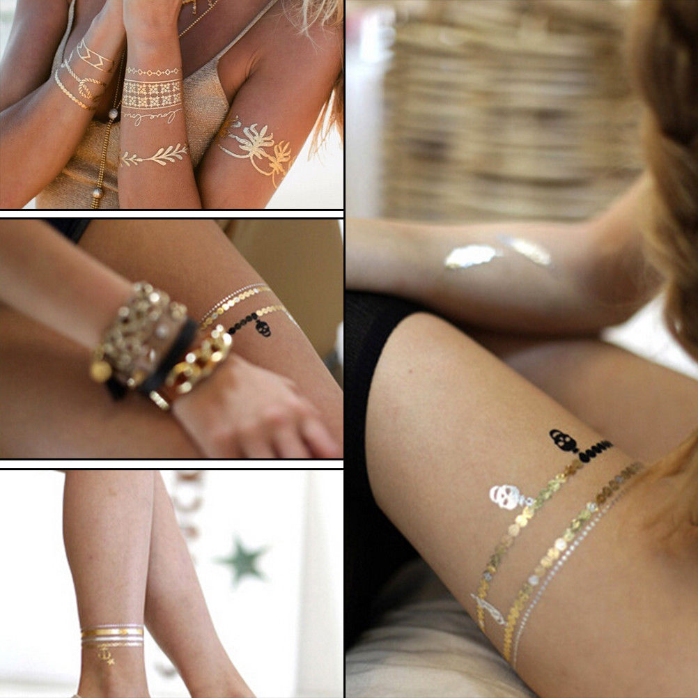 Gold Tattoo Sex Products Necklace Bracelet Tattoo Metal Women Flash Metallic Gold Silver Tattoos