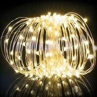 אורות מחרוזת שמש, פיות אורות שמש חיצוני, אורות חוטי נחושת (200led, 65.6ft) אורות מחרוזת פיית גינה, פטיו