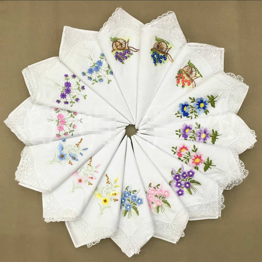 2Pcs/lot Embroidered handkerchief cotton white cotton embroidery lace single side edge handkerchief cotton handkerchief fabric