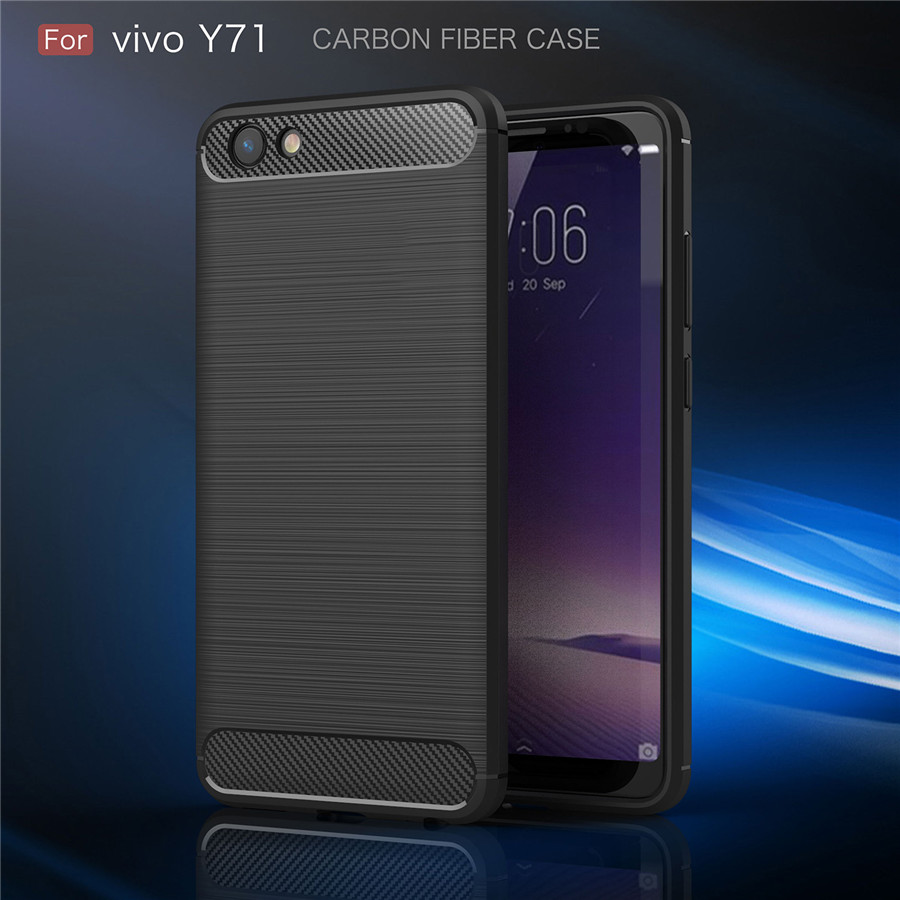 For Coque VIVO Y71 Case Carbon Fiber Soft ShockProof Case Silicone Full Protector For Fundas VIVO Y71 Y 71 Back Cover in Fitted Cases from Cellphones Telecommunications