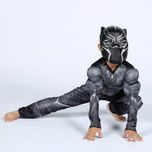 Avengerss Endgame Black Panther Muscle Cosplay Costume garçons filles Captain America film de guerre civile Black Panther robe fantaisie(China)