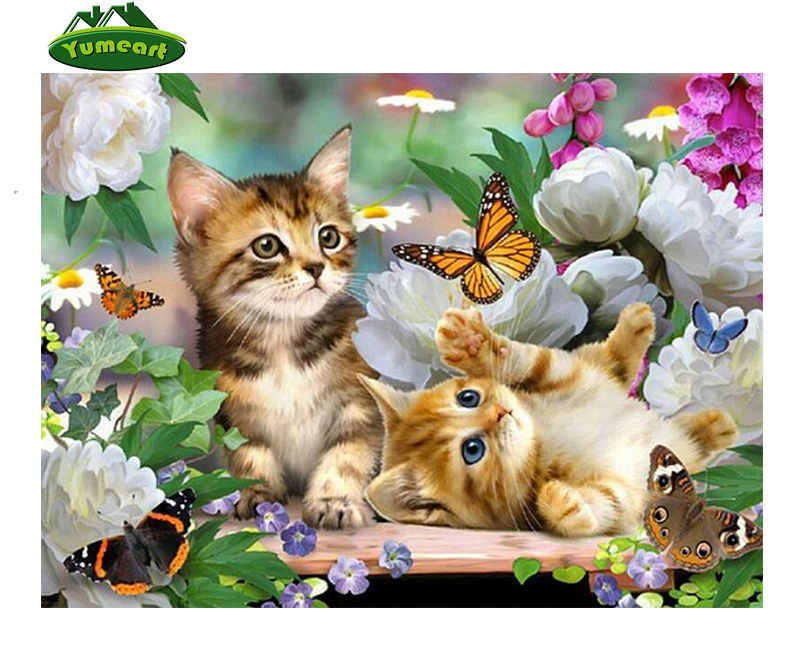 Diy Diamond Painting Cross Stitch Cats Animals Diamond Embroidery Flowers Picture Rhinestone Pastel Diamond Art Craft Home Dcor