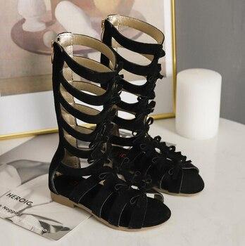 1825ba313d4 Caliente verano bebé niñas sandalias de gladiador zapatos de los niños  zapatos romanos zapatos de cuero de los niños de alta niña Sandalias de moda  de la UE ...