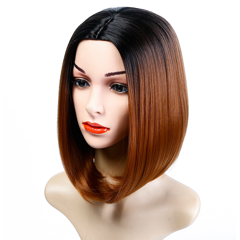 WTB Synthetic Short Bob Ombre Wig For Women Straight Hair Two Tone Dark Roots Wig Heat Resistant Cosplay Wig
