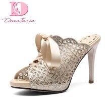 DoraTasia 2018 slik riband platform Summer Mules Pumps Shoes Woman Peep toe thin  High Heels Party wedding Women Shoes cc78f77faaaf
