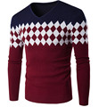 Brand New Men's Clothing 2016 Autumn V-neck Sweater Commercial Stripe Casual Knitted Slim Fit Men Sweater,Plus Size M-XXL